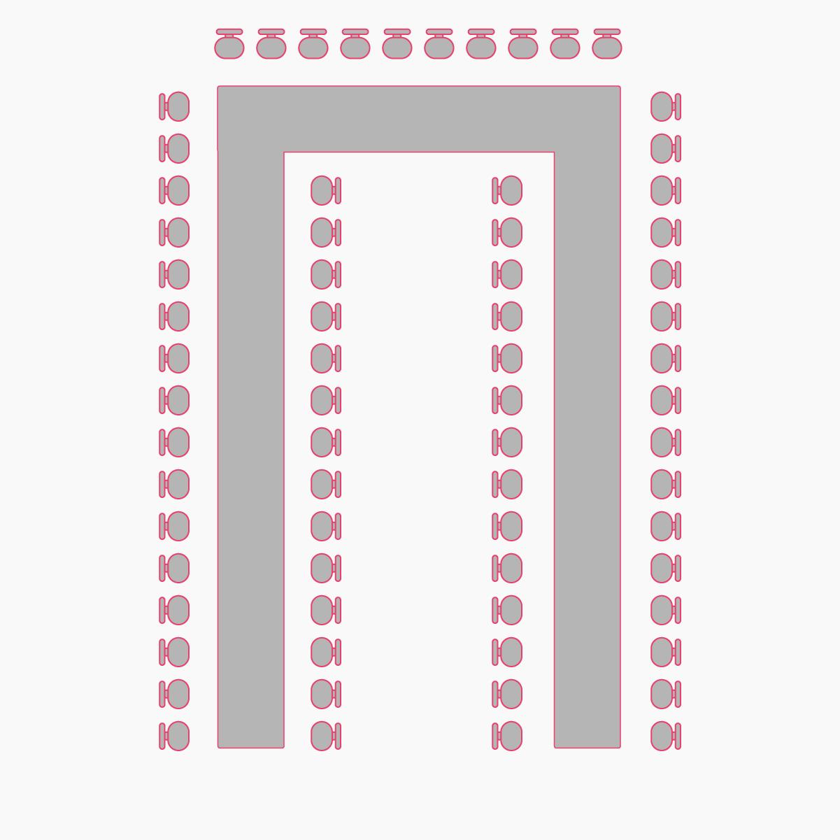 рассадка гостей буквой П в большом банкетном зале