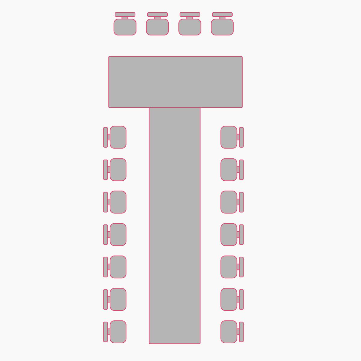 рассадка гостей буквой Т в хрустальном зале