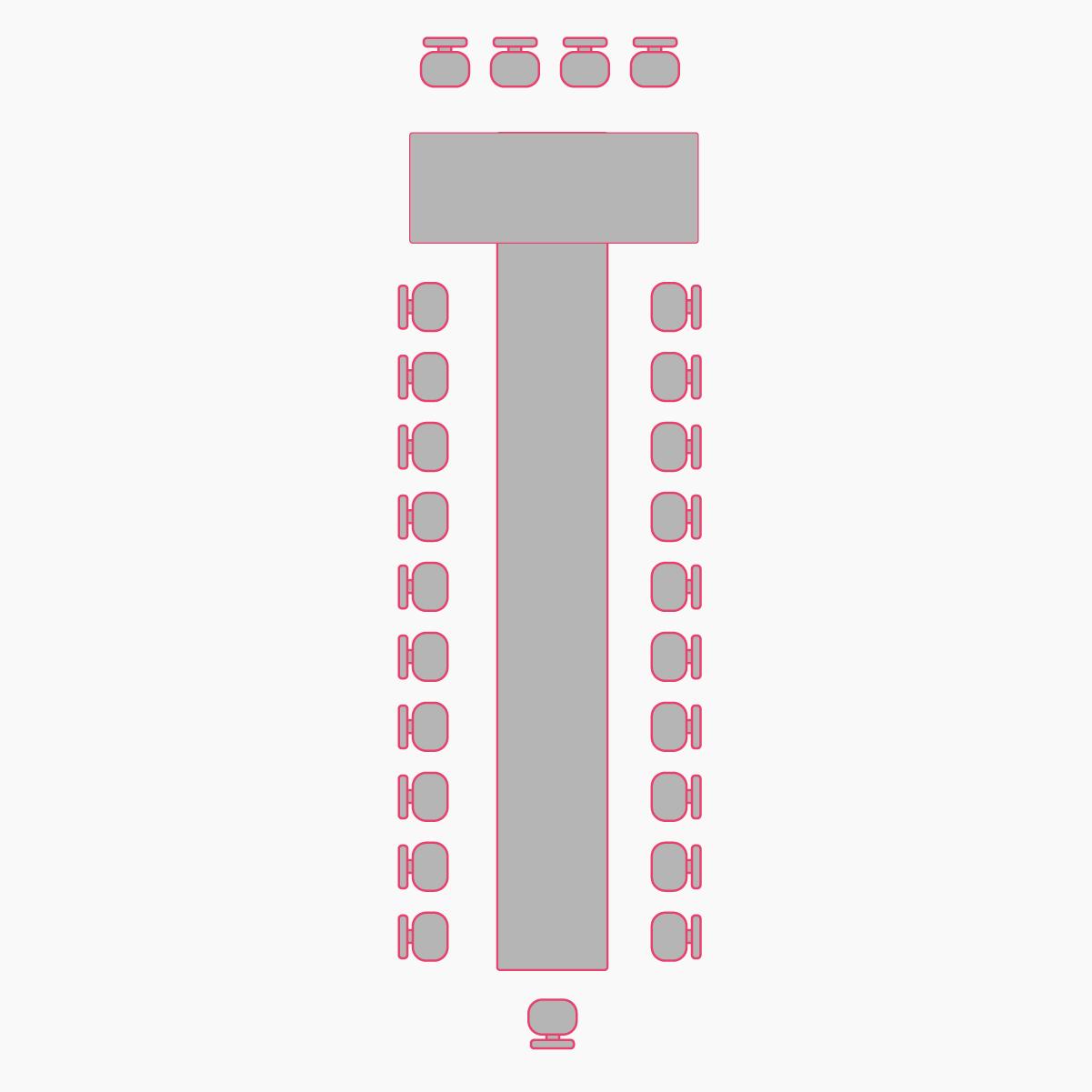 рассадка гостей буквой Т в зале Восточный экспресс