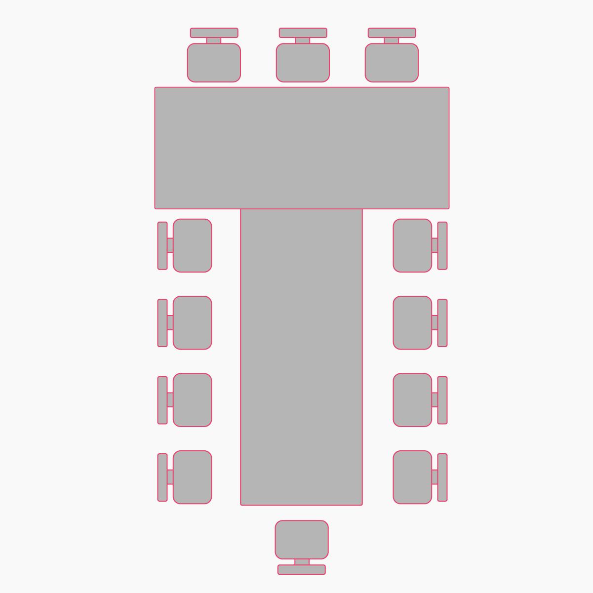 рассадка гостей буквой Т в фисташковом зале